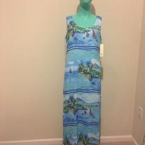 Tacera Watercolor Ocean Print Tropical Maxi Dress
